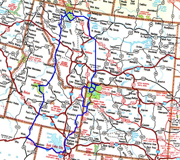 Our Route Is In Blue Click The Map For Yellowstone